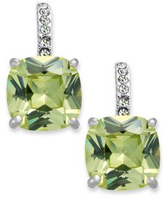 For the Kiki McDonough Green Amethyst drops, these are the City by City Green CZ Leverback Earrings at Macy's $25