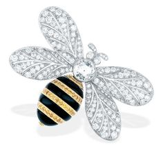 Tiffany & Co. bee brooch with yellow diamonds, black onyx and diamonds.
