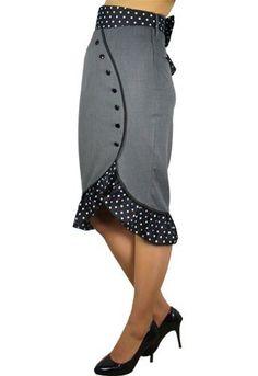 Pinup 60's Bombshell Polka Dot Ruffled Hem with Big Bow Gray Skirt Skelapparel, http://www.amazon.com/dp/B00BHFN5I6/ref=cm_sw_r_pi_dp_66yGsb1019FDTKE2
