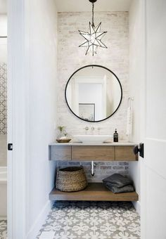 Looking for Bathroom and Powder Room ideas? Browse Bathroom and Powder Room images for decor, layout, furniture, and storage inspiration from HGTV. Powder Room Design, Powder Room Decor, Room Shelves, Bathroom Interior Design, Diy Interior, Bathroom Flooring, Home Decor Accessories, Bathroom Accessories, Bath Room
