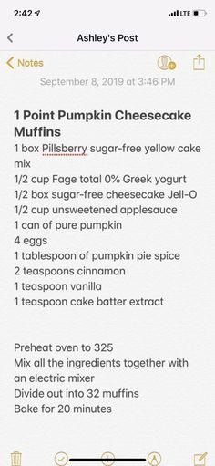Pumpkin Cheesecake Muffins, Cake Mix Muffins, Sugar Free Cheesecake, Cake Mix Recipes, Ww Recipes, Muffin Recipes, Diabetic Recipes, Healthy Recipes, Weight Watchers Cheesecake