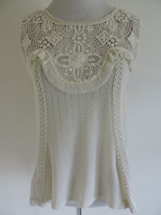 THML Top Shirt Blouse Cream Lace XS Lovely Boho Vintage Inspired #THML #TankCami