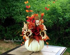Beautiful Fall Centerpiece Autumn Centerpiece by KreativelyKrafted