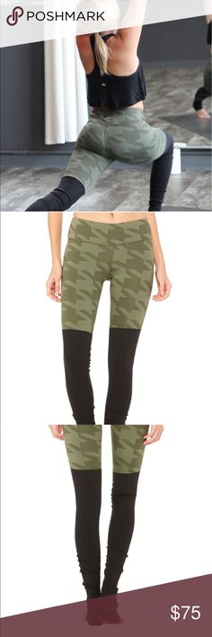 NWT ALO Goddess Legging Slims inner and outer thighs, booty lifting. Signature ALO ribbed legging to be worn above or below heel. Color- Jungle Houndstooth ALO Yoga Pants Leggings