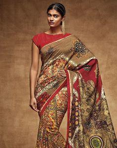 Buy Saree: Multi; Blouse: Red Multicoloured Bangalori Silk Saree for women Online  At Flash Sale   Styletag, India