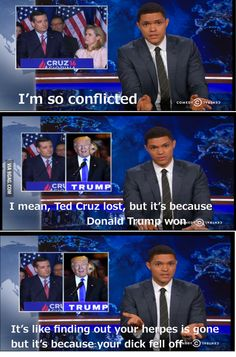 The Daily Show's Trevor Noah thoughts about Ted Cruz dropping out of the race Funny Facts, Funny Memes, Hilarious, Trevor Noah, Ted Cruz Funny, Ted Cruz Meme, Religion And Politics, The Daily Show, Im Bored