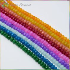 Wholesale Mixed Color Jade Faceted Roundel Beads 6x4mm