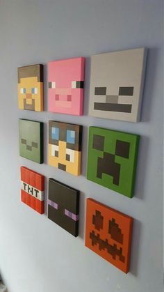 Set of 9 canvases. Small x Arte de pared de Minecraft. Set of 9 canvases. Small x Arte de pared de Minecraft. Minecraft Crafts, Minecraft Kunst, Minecraft Room Decor, Boys Minecraft Bedroom, Minecraft Stuff, Creeper Minecraft, Minecraft Wall Designs, Minecraft Houses, Minecraft Furniture