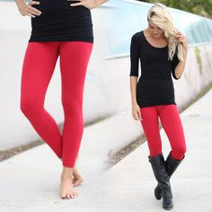 LOVELY! Our Red Fleece Leggings are the ultimate in comfort and style. The best way to wear these is any way! Pair with a top, jacket, sweater, or just about anything! See other must have leggings at our online boutique!
