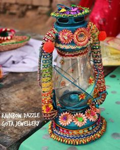 Giving the extra bling at the events. Embellished Lantern by is an O- so-pretty piece to add to the attractive decor for… Thali Decoration Ideas, Diy Diwali Decorations, Wedding Stage Decorations, Diwali Diy, Diwali Craft, Ramadan Crafts, Mehndi Decor, Mehendi, Desi Wedding Decor