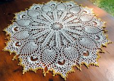 Crochet doily lace pineapple doilie ecru with a gold by Draiguna
