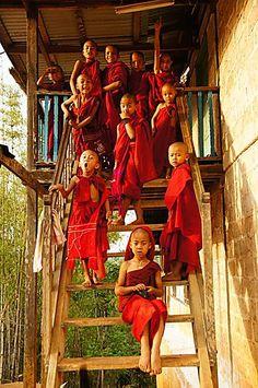 """Novice monks (""""Ko Yin""""), in Bagan Tibet, Birman Cat, Little Buddha, Burma Myanmar, Inle Lake, Buddhist Monk, Photos Voyages, Bagan, Mandalay"""