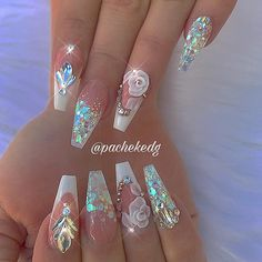 Special Nails Ideas for Special Occasions Glam Nails, Bling Nails, Cute Nails, Sexy Nails, 3d Nail Designs, Acrylic Nail Designs, Stylish Nails, Trendy Nails, Gorgeous Nails