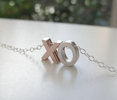 XO Charm Necklace, rose gold and silver ... uncovet.com