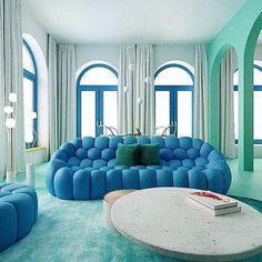 Useful funky home decor advice ref 3628736183 for one really unique room. Blue Interior Design, Blue Couch Living Room, Couch Design, Room Design, Interior, Blue Living Room, Curtains Living Room, Trendy Living Rooms, Couches Living Room