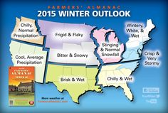 Farmers' Almanac US Winter Weather Map. More #Shivery and #Shovelry in store!