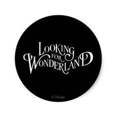 Typography   Looking for Wonderland Classic Round Sticker