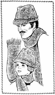 Men & Boys Fedora Hat & Scarf Vintage Crochet Pattern for download Sizes S M L