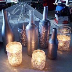 55 New Ideas Wedding Diy Centre Pieces Wine Bottles Candle Holders Wedding Table, Diy Wedding, Wedding Reception, Dream Wedding, Wedding Day, Sparkle Wedding, Budget Wedding, Wedding Summer, Wedding 2015