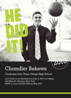 He Did It Photo Grad Invitation Graduation Invitation
