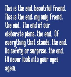 The Doors - The End - song lyrics songs music lyrics song quotes