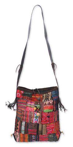 Novica Cotton shoulder bag, Tribal Red