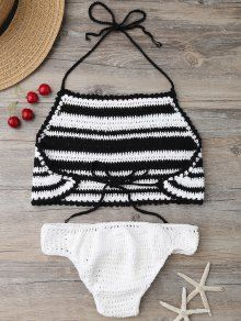 High Neck Stripe Crochet Bikini Set - BLACK ONE SIZE