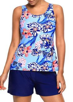 Round Neck Flower Print Blue Tankini Set on sale only US$30.06 now, buy cheap Round Neck Flower Print Blue Tankini Set at liligal.com