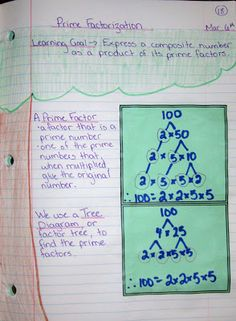 Runde's Room:  Prime Factorization math journal entry. Useful for Block B1 in September