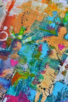 Paint,color,stencil layering detail- dina wakley, via Flickr