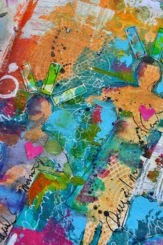 Paint,color,stencil layering detail- dina wakley, via Flickr