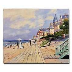 Hand-painted Oil Painting The Boardwalk at Trouville by Claude Monet with Stretched Frame,Card Wallet flower diamond shoulder bag case For SamSung Iphone 5 Monet Paintings, Landscape Paintings, Claude Monet, Online Painting, Cool Gadgets, Wonders Of The World, Paris Skyline, Hand Painted, Canvas