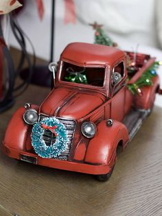 I like the lights on side of truck bed- Red Truck with Christmas tree farmhouse Christmas primitive Woodland Christmas, Primitive Christmas, Country Christmas, Red Christmas, All Things Christmas, Vintage Christmas, Christmas Print, Christmas Ideas, Christmas Door Wreaths