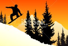 Surf des neiges, Snowboard, Paire de skis, Silhouette, Montagne Illustration vectorielle libre de droits