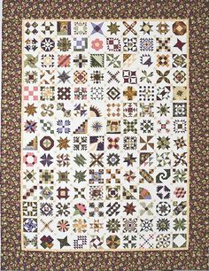 """Sylvia's Bridal Sampler"" is a 140 block sampler quilt made by the characters in a novel, 'The Master Quilter,' the sixth in the Elm Creek Quilts series by Jennifer Chiaverini. The patterns have since been collected and printed in their own book. - quilt photo shared on Elm Creek"