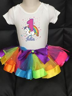 First Birthday Outfit Rainbow Birthday Outfit by FunMunchkin