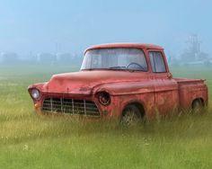 Download wallpaper truck, grass, drawing, broken, other resolution 1280x1024
