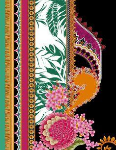 digital textile design ornament and pattern Textile Patterns, Textile Design, Textiles, Folk Art Flowers, Flower Art, Border Embroidery Designs, Vintage Borders, Fashion Graphic Design, Design Seeds