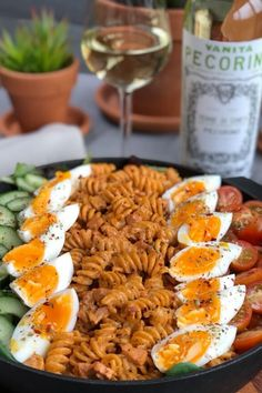 """Pasta salad with bacon, tomato, cucumber and egg salad """"I am so bored! Easy Cooking, Cooking Recipes, Pesto Pasta, Mozzarella, Cobb Salad, Kids Meals, Cucumber, Salads, Appetizers"""