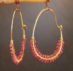 Cleopatra 80 Half round hoops wrapped with pink ruby. Available in Sterling Silver or 14K Gold Filled