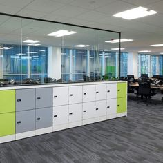 Office furniture ideas thumbnail size home office modern commercial office space saving storage building workspace organization Workspace Design, Office Interior Design, Office Interiors, Interior Design Inspiration, Office Storage, Locker Storage, Locker Designs, Office Designs, Office Lockers
