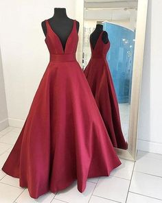 Sexy Burgundy Prom Dresses, Red Formal Dresses, Prom Dress 2017, V Neck Long Prom Dress,Long Evening Dress, Simple Charming Prom Dress,Prom Dresses