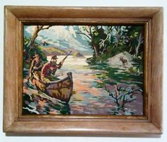 Vintage Paint by Number Moose Hunters w/ Rifle in Canoe Painting Wood Frame