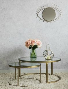 Buy the stunning Coco nesting round glass top coffee table stacking set with beautiful brass frames here at Rose & Grey, and enjoy FREE UK delivery. Coffee Tables Uk, Round Glass Coffee Table, Brass Coffee Table, Glass Table, Retro Side Table, Elegant Table, Nesting Tables, Home Decor, Living Room