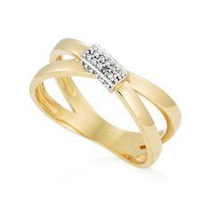 Anel em ouro amarelo e ouro branco 18k e 6 pts de diamantes - Coleção Lumière Shangai