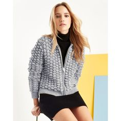 Superdry Bobble Stitch Bomber Jacket (£65) ❤ liked on Polyvore featuring outerwear, jackets, stitch jacket, lipsy, bomber style jacket, bomber jacket and bubble jacket