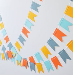 Paper Garland Paper Bunting Blue & Orange by ScoutAndAcadia