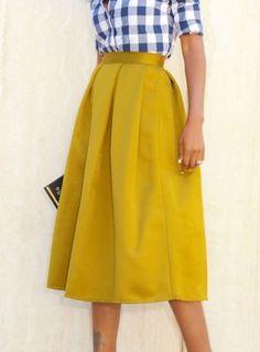 Fvogue Vintage High-waist Yellow Women Skirt