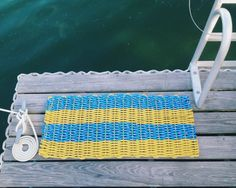 Recycled Lobster Rope Doormat - Nautical Yellow & Blue