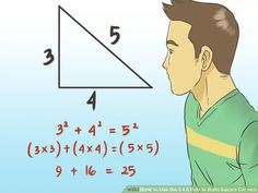Image titled Use the 3 4 5 Rule to Build Square Corners Step 1 Used Woodworking Tools, Woodworking Furniture, Woodworking Plans, Woodworking Projects, Popular Woodworking, 3 4 5 Rule, Diy Wood Projects, Wood Crafts, Building Foundation